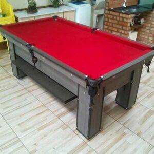 mesa de bilhar charme dakar tecido vermelho